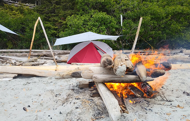 beach camping, Johnstone Strait
